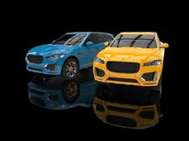 Bright yellow and blue modern 4x4 SUVs. Isolated on black reflective background Stock Images