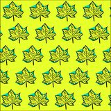 Bright yellow-blue pattern: maple leaves Royalty Free Stock Image