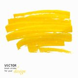 Bright yellow  brush stroke hand painted Stock Images
