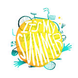 Bright Yellow Bubble Design with Active Summer Stock Photo