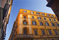 Bright Yellow Builidng Blue Skies Rome Italy Royalty Free Stock Photos