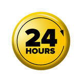 Bright yellow button with words `24 hours` and arrow. Work time circle label for posters and banners. Day-and-night open tag. Design element on white Stock Photo