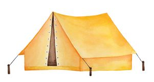 Bright yellow camping tent watercolour drawing. vector illustration