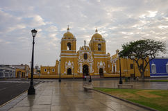 Bright yellow colonial style Cathedral in the Plaza de Armas of Royalty Free Stock Photography