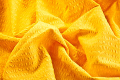 Bright yellow cotton fabric Royalty Free Stock Image