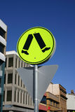 Bright Yellow Crossing Sign royalty free stock photos
