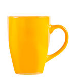 Bright yellow cup isolated. Stock Image