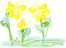 Bright yellow floral artistic background. Hand drawn impressionist flowers on a white background makes an artistic design background that is pleasant and Stock Images