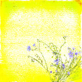 Bright yellow floral paper background with blue flowers Royalty Free Stock Images