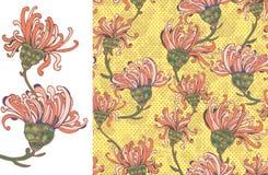 Bright yellow Flower Seamless Pattern Stock Photo