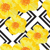 Bright Yellow Flowers Seamless Pattern with Geometric Ornament. Black Stripes. Vector Illustration Royalty Free Stock Photo
