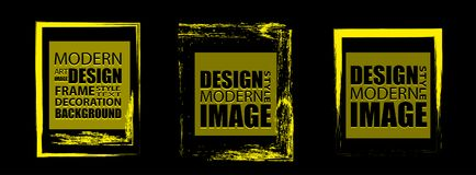 Bright yellow frame with a neon effect. Design elements for nigh Royalty Free Stock Images