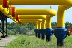 Bright yellow gas pipes Royalty Free Stock Photo