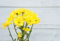 Bright yellow gerbera on wooden background. Flowers. Bright yellow gerbera on wooden background Royalty Free Stock Image