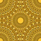 Bright yellow glaring hand-drawing ornamental floral abstract seamless background with many details for design of silk neckerchief Royalty Free Stock Photo