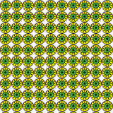 Bright yellow, green and black decorative round elements seamless pattern on a white background Stock Photography
