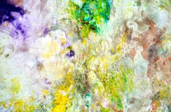 Bright yellow green spots pastel colors, bright pastel paint acrylic watercolor background, colorful texture. Watercolor painting bright fluid spots abstract stock image