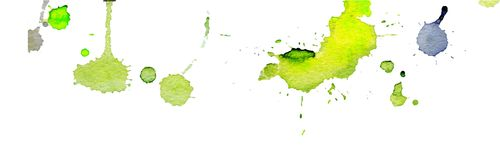Bright yellow green watercolor splashes and blots on white background. Ink painting. Hand drawn illustration. Abstract watercolor. Artwork Royalty Free Stock Image