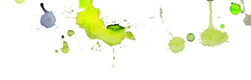 Bright yellow green watercolor splashes and blots on white background. Ink painting. Hand drawn illustration. Abstract watercolor. Artwork Stock Photography