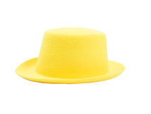 Bright yellow hat with a brim. Isolated on white background royalty free stock photo