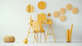 Bright yellow home office interior. Cinemagraph video of plush dice. stock video