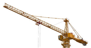 Bright yellow isolated hoisting crane Stock Photo