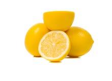 Bright yellow juicy lemons. stock photos