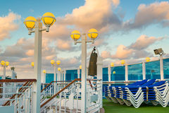 Bright Yellow Lights on the Deck of a Cruise Ship Royalty Free Stock Image