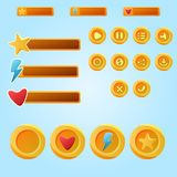 Bright yellow mobile elements For Ui Game - a set game development buttons