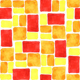 Bright yellow, orange, red seamless watercolor tile background. Royalty Free Stock Images