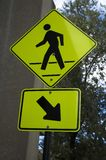 Bright yellow pedestrian sign Royalty Free Stock Image