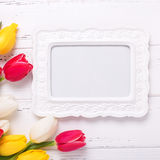 Bright yellow, pink  and white tulips flowers  and empty frame o Royalty Free Stock Image