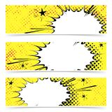 Bright yellow pop art explosion emotion cloud cards collection Stock Images