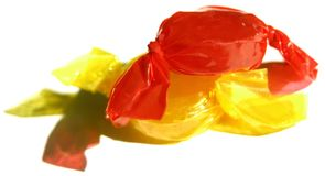 bright yellow and red candy Stock Photo