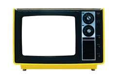 Bright Yellow Retro TV Isolated with Clipping Path. Retro TV Isolated with Clipping Paths. File contains three clipping paths. One for the outline, one for the Stock Images