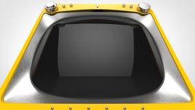 Bright yellow retro TV set. Extreme closeup shot stock photo