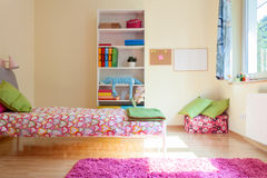 Bright yellow room for girl Royalty Free Stock Image