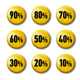 Bright yellow round buttons with discount tags Royalty Free Stock Image