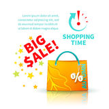 Bright yellow shopping bag Stock Photography