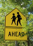 Bright yellow sign for pedestrian crossing Royalty Free Stock Photo
