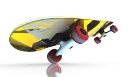 Bright yellow skateboard during a trick standing on one wheel on white background Stock Photography