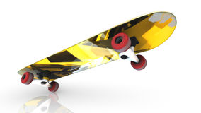 Bright yellow skateboard during a trick is standing on one wheel. On white background. 3d render stock illustration