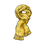 Bright yellow slip knotted winter knitted scarf with tassels. Sketch style vector illustrations  on white background. Hand drawn fluffy woolen scarf tied in Royalty Free Stock Photo