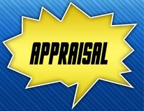 Bright yellow speech bubble with APPRAISAL message. Blue striped background. Illustration Royalty Free Stock Image