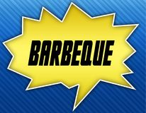 Bright yellow speech bubble with BARBEQUE message. Blue striped background. Illustration stock illustration