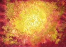 Bright yellow sun. Drawing of bright yellow sun. Picture contains interesting idea, evokes emotions aesthetic pleasure. Natural paints. Concept art painting royalty free illustration