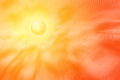 Bright yellow sun with high energy corona. Yellow sun with corona emitting rays, elctro magentic waves, heat and waves of energy Stock Image