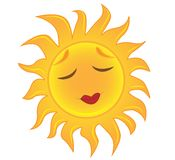 Bright yellow sun sleeps Royalty Free Stock Images