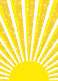Bright yellow sun with sunrays and glowing stars Stock Photography