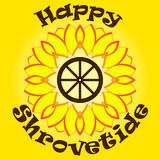 Bright yellow sun with text happy shrovetide on orange background. Wooden wheel inside. National holiday.Template. For cards, invitation with symbols of Stock Photography
